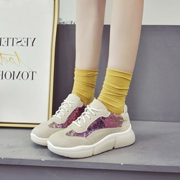 Sequin Color Block Lace-Up Wedge Sneakers