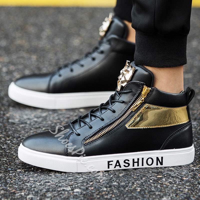 Casual Sequin Zipper Round Toe Men's Sneakers