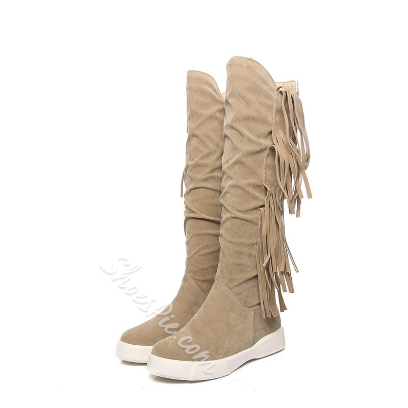 Fringe Suede Slip-On Knee High Boots