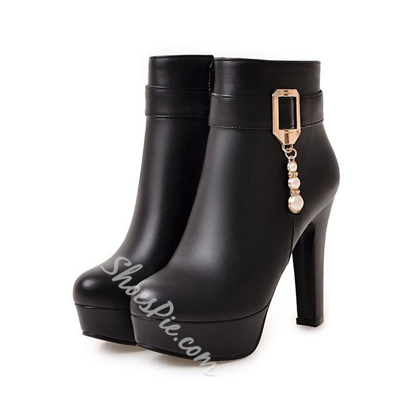 Shoespie Stylish Round Toe Side Zipper High Heel Ankle Boots