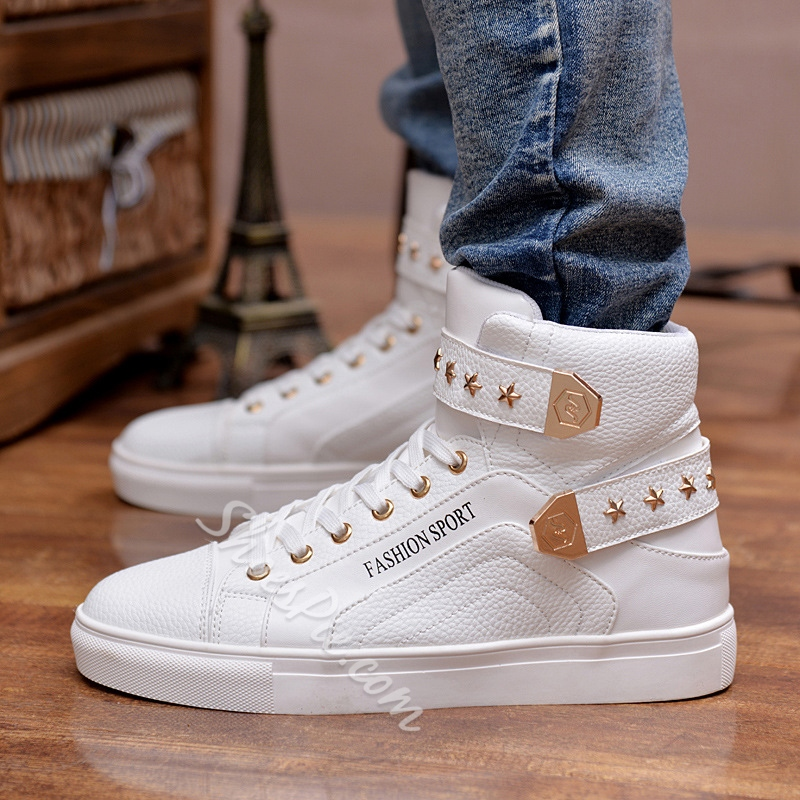 Rivet Buckle High Upper Round Toe Men's Sneakers
