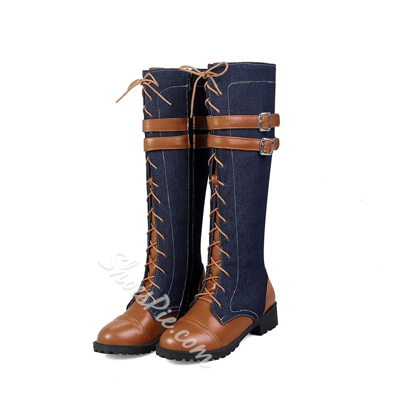 Cross Strap Buckle Side Zipper Knee High Boots