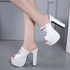 Platform Buckle Slip-On High Heel Mules Shoes