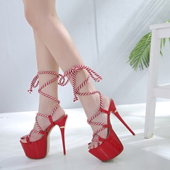 Stripe Lace-Up Ankle Strap Stiletto Heel Sandals