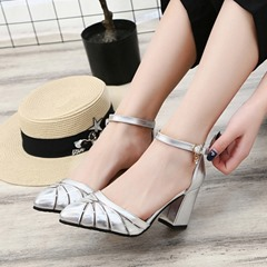 Pointed Toe Line-Style Buckle Dress Sandals