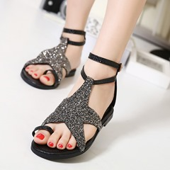 Black Sequin Buckle Strappy Flat Sandals