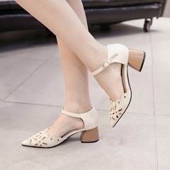 Buckle Hollow Closed Toe Chunky Heel Sandals