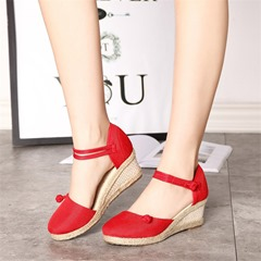 Buckle Closed Toe Cute Wedge Sandals
