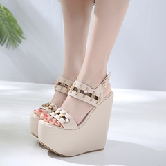 Rivet Open Toe Strappy Wedge Sandals