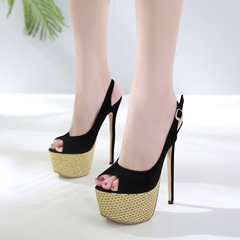 Black Slingback Stiletto Platform Sandals