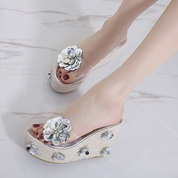Jelly Appliques Rhinestone Wedge Sandals