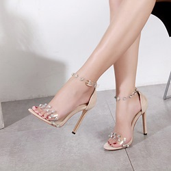 Jelly Rhinestone Rivet Stiletto Dress Sandals