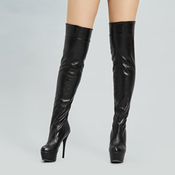Shoespie Solid Color Round Toe Thigh High Boots
