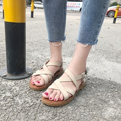 Open Toe Buckle Strappy Flat Sandals