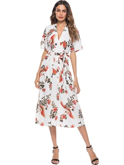 Shoespie Floral Pullover V Neck Women's Maxi Dress