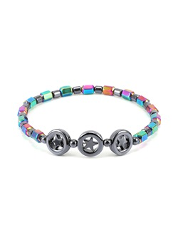 Colored Star Pattern E-plating Alloy Anklets