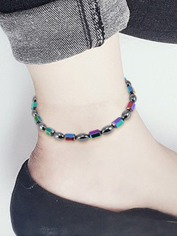 Colored Magnetite Beads Anklets