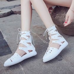 White Lace Up Zipper Cross Strap Flat Sandals