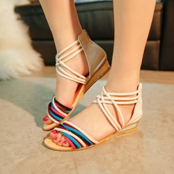 Zipper Open Toe Heel Covering Wedge Sandals