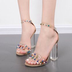 Rivet Jelly Open Toe High Heels