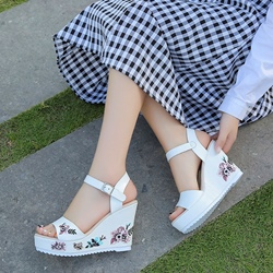 Embroidery Ankle Strap Buckle Wedge Sandals