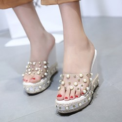 Jelly Rivet Slip-On Wedge Sandals