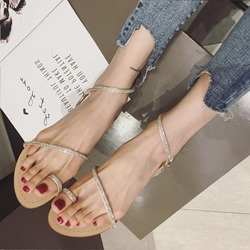 Rhinestone Ankle Strap Toe Ring Flat Sandals