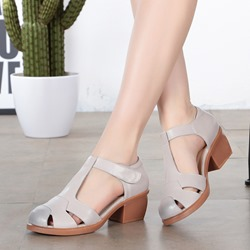 Round Toe Low Upper Velcro Dress Sandals