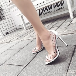 Jelly Bow Rivet Peep Toe Stiletto Heels