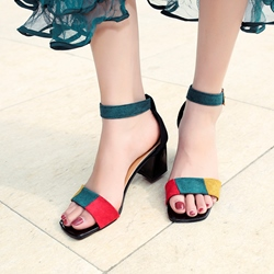 Shoespie Color Block Open Toe Dress Sandals