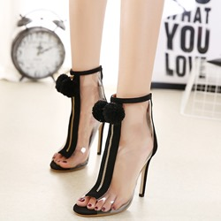 Jelly Black Pompon Zipper Peep Toe Stiletto Heels