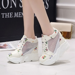 Lace-Up Floral Hidden Elevator Heel Sneaker