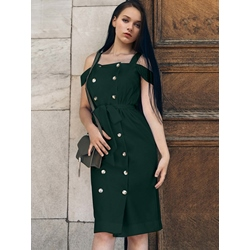 Tidebuy Off-The-Shoulder Belt Plain Women's Bodycon Dress