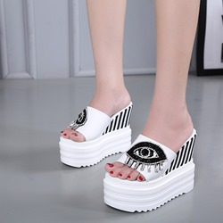 Black & White Rhinestone Slip-On Wedge Sandals