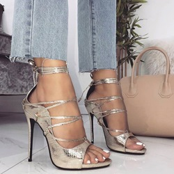 Golden Lace-Up Peep Toe Stiletto Heels