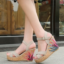 Embroidery Platform Ankle Strap Wedge Sandals