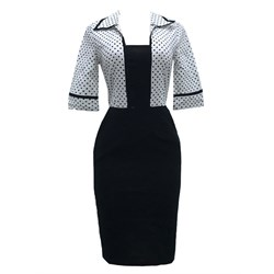 Shoespie Patchwork Polka Dots Pullover Women's Bodycon Dress