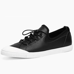 Black PU Elastic Band Men's Sneakers