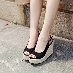 Black Slingback Peep Toe Wedge Sandals