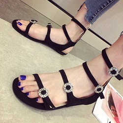Black Rhinestone Buckle Ankle Strap Flat Sandals