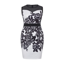 Shoespie Polyester Print Floral Plusee Women's Bodycon Dress