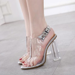 Buckle Jelly Peep Toe High Heels