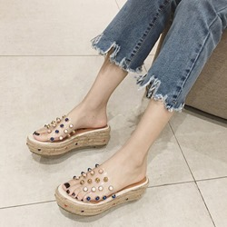Rivet Platform Slip-On Platform Sandals