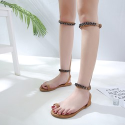 Chain Toe Ring High Shaft Flat Sandals
