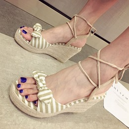 Stripe Bow Lace-Up Wedge Sandals
