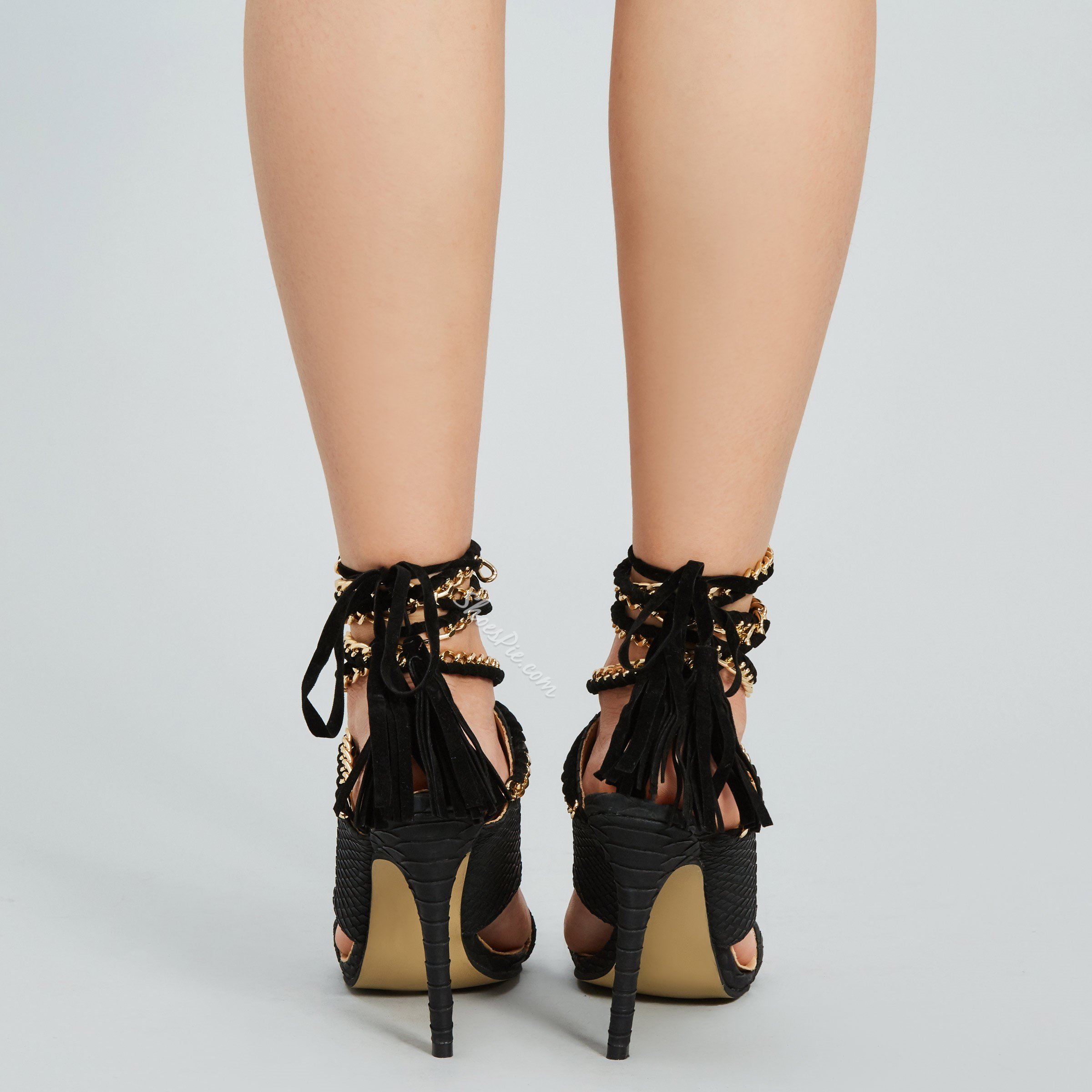 Shoespie Black Embossed Ankle Wrap Heel Sandals