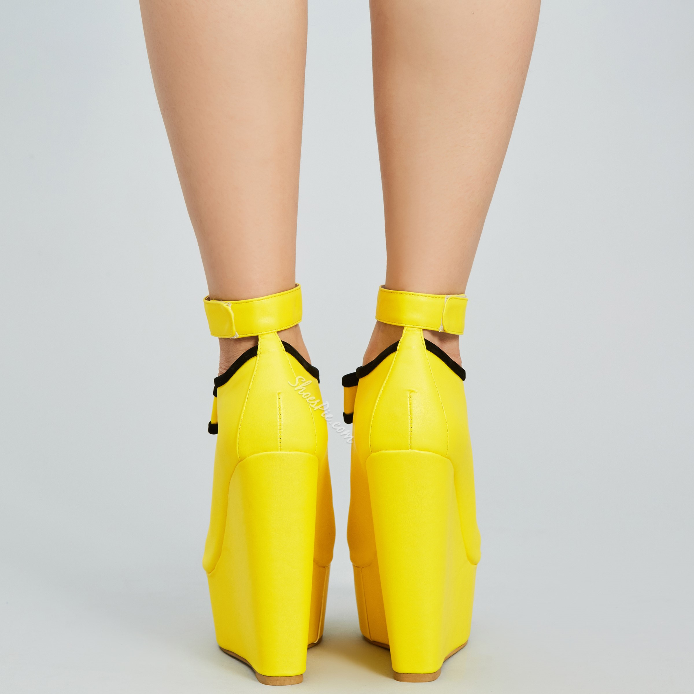 Shoespie Yellow Bow Wedge Sandals