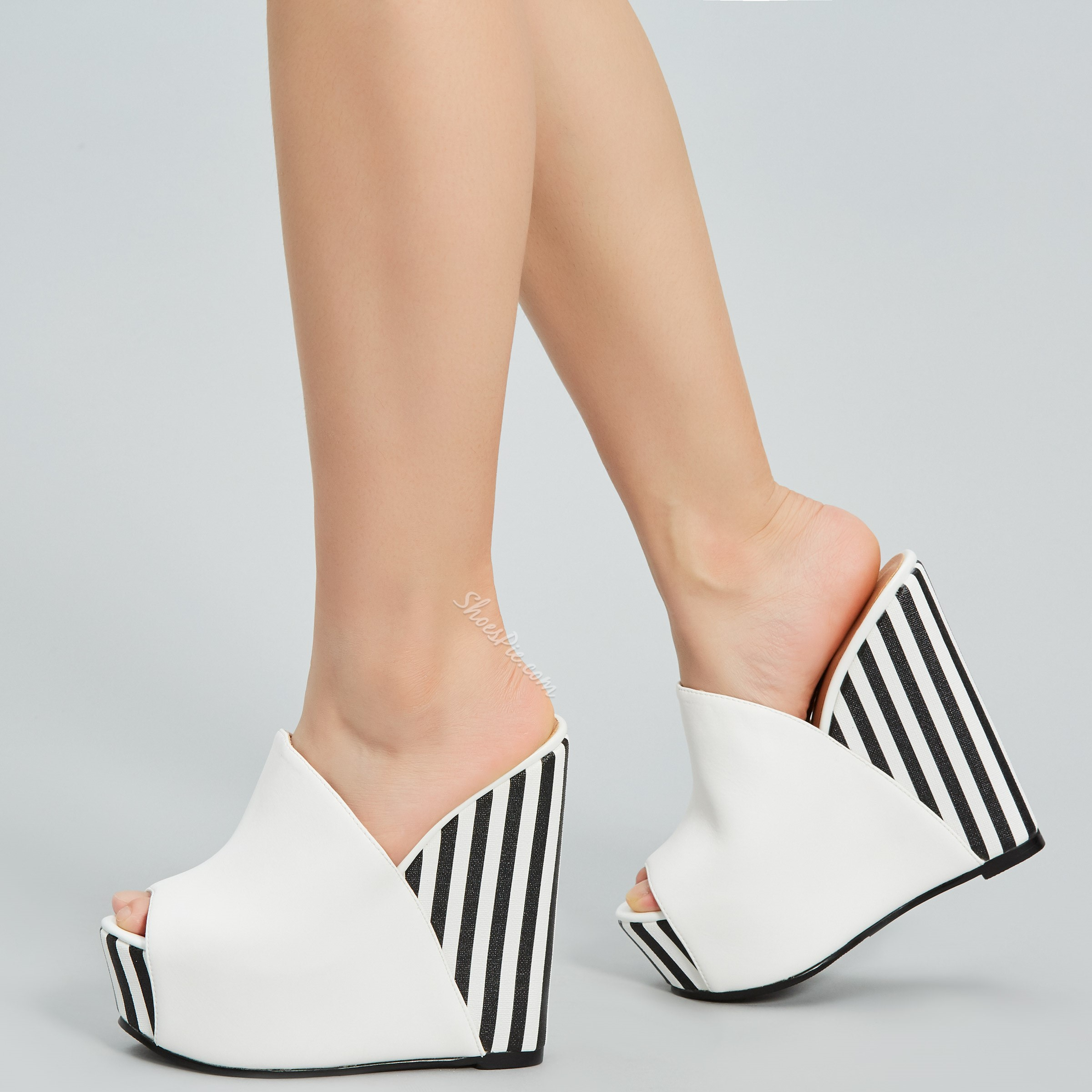 White Platform Slip-On Wedge Heels