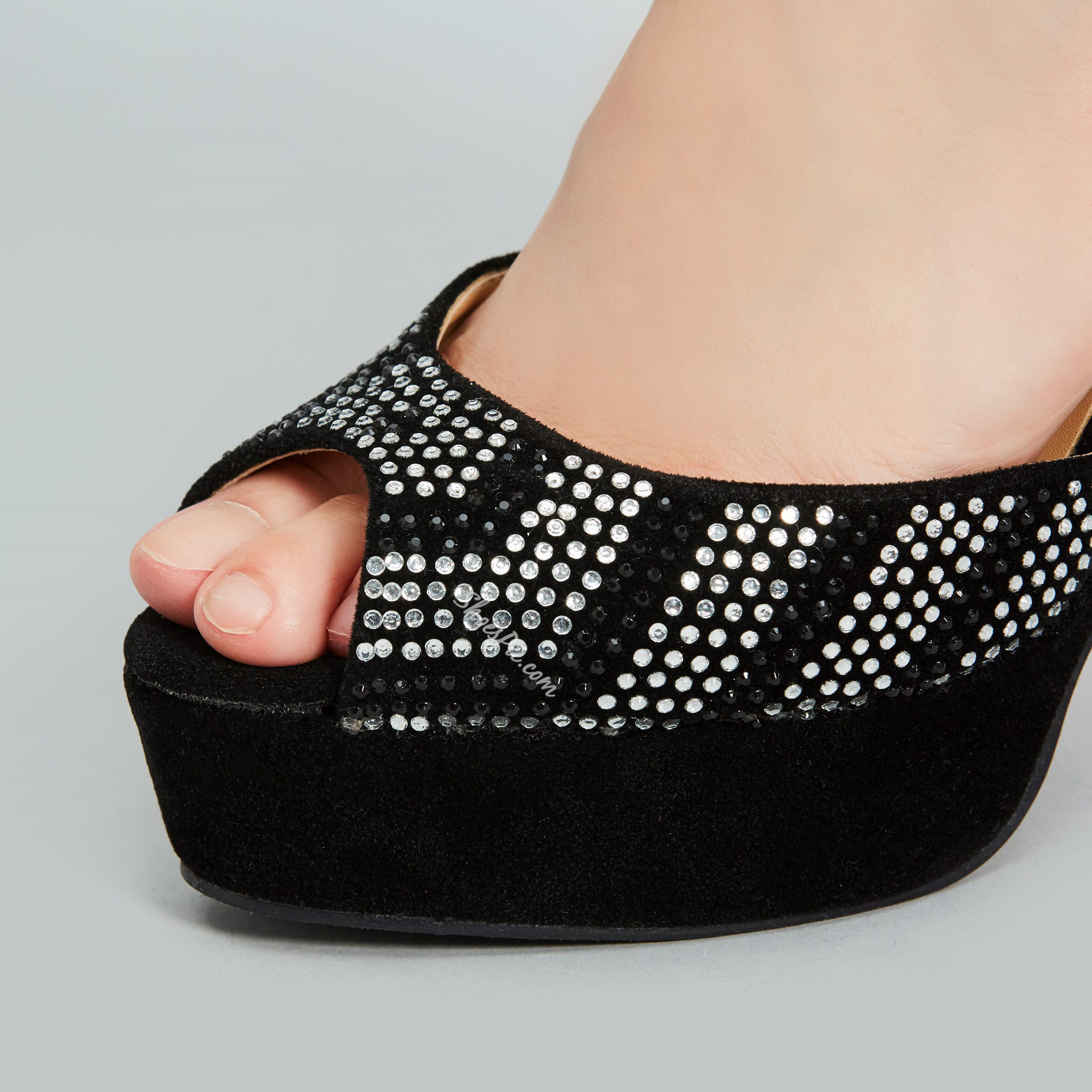 Shoespie Black Jewelled Ankle Wrap Peep Toe Platform Heels
