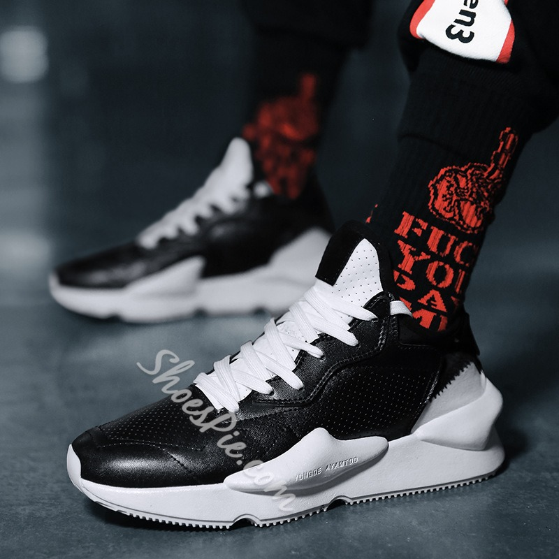 Hollow Mid Upper Lace-Up Men's Sneakers
